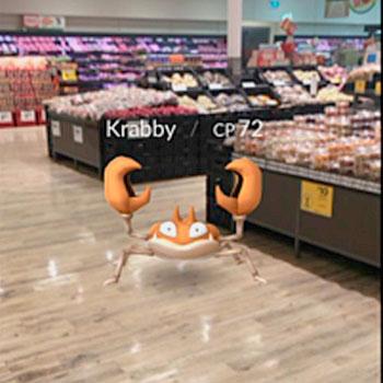 Krabby em loja de supermercado - estratégia de marketing