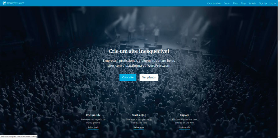 Homepage do wordpress