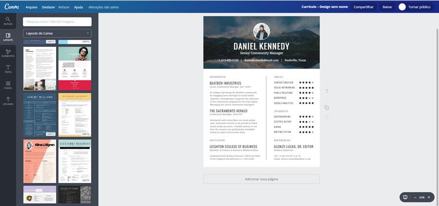 modelos prontos de currículos no canva editor de imagem online indicado por Jasper Designer